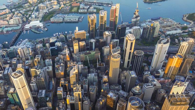 Office markets Sydney aerial shot