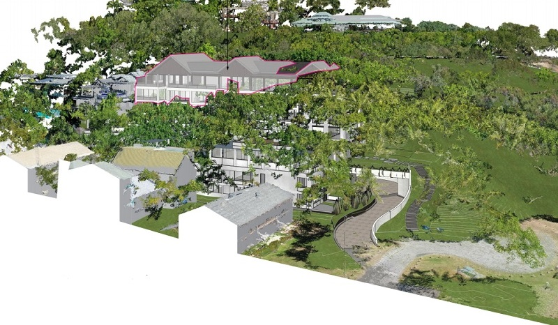 The Gurner hotel and residences cut into the hillside overlooking Four Mile Beach in Port Douglas.