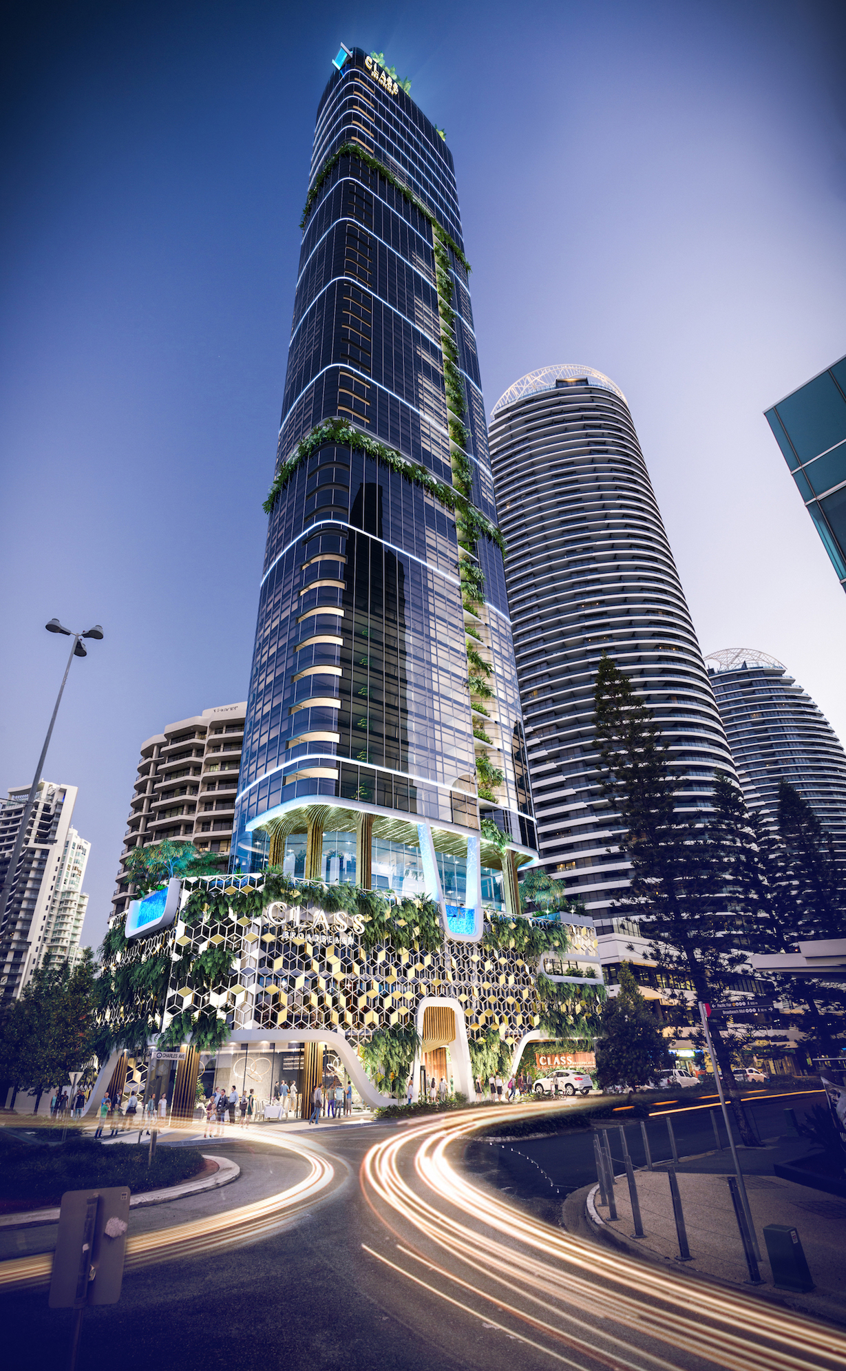 Architects RH Frankland and Associates have designed the glass-clad skyscraper to mimic the natural elements of Broadbeach with vertical and horizontal green walls.