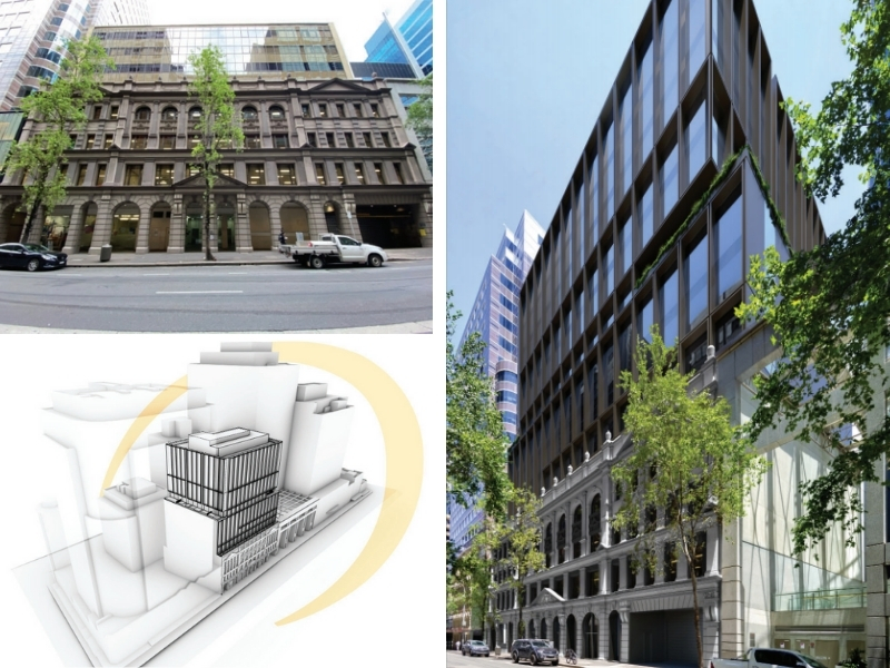 The current 333 Kent Street, Sydney Property, new plans for iProsperity and latest renders, they show a four-storey warehouse with a commercial building built above.