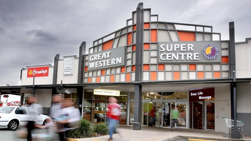 The front of Great Western Shopping Centre has a geometric square pattern.