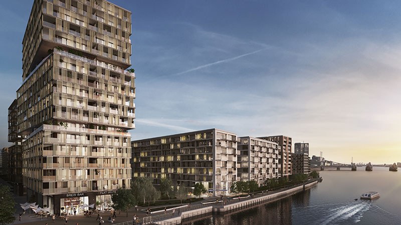 Oxley is behind the Royal Wharf development, featuring 3400 dwellings along the River Thames in London.