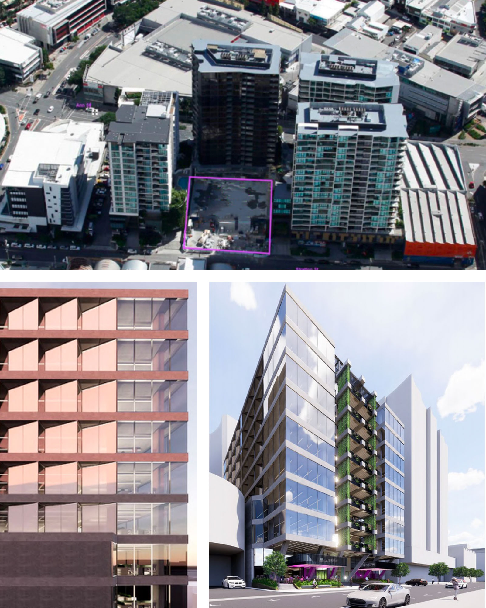 The final site at Newstead Central (top) has been acquired by Silverstone. The Rothelowman-designed scheme for the tower (bottom left, right).