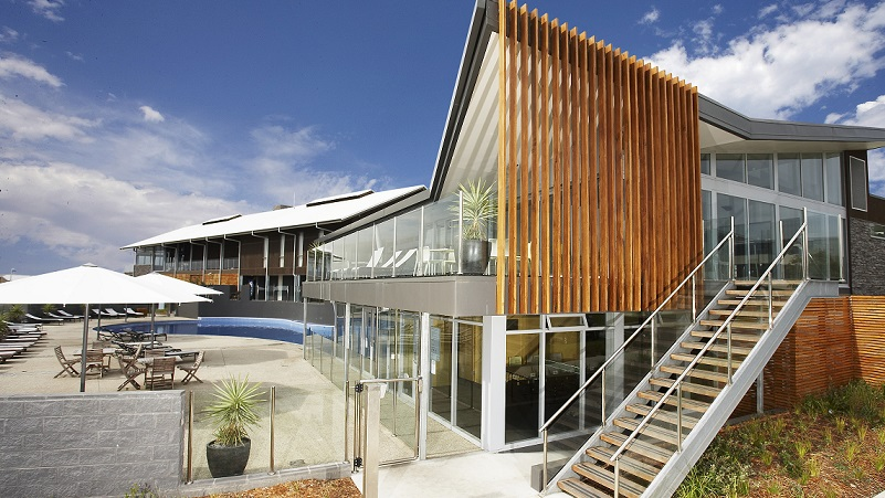 A swimming pool, gym and outdoor area at the coastal resort opposite Phillip Island.