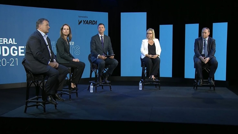 ▲ The Property Council of Australia hosted a federal budget insight conversation with Charter Hall's David Harrison, Dexus' Deborah Coakley, PCA host Ken Morrison, ANZ's Felicity Emmett and Stockland's Mark Steinert.