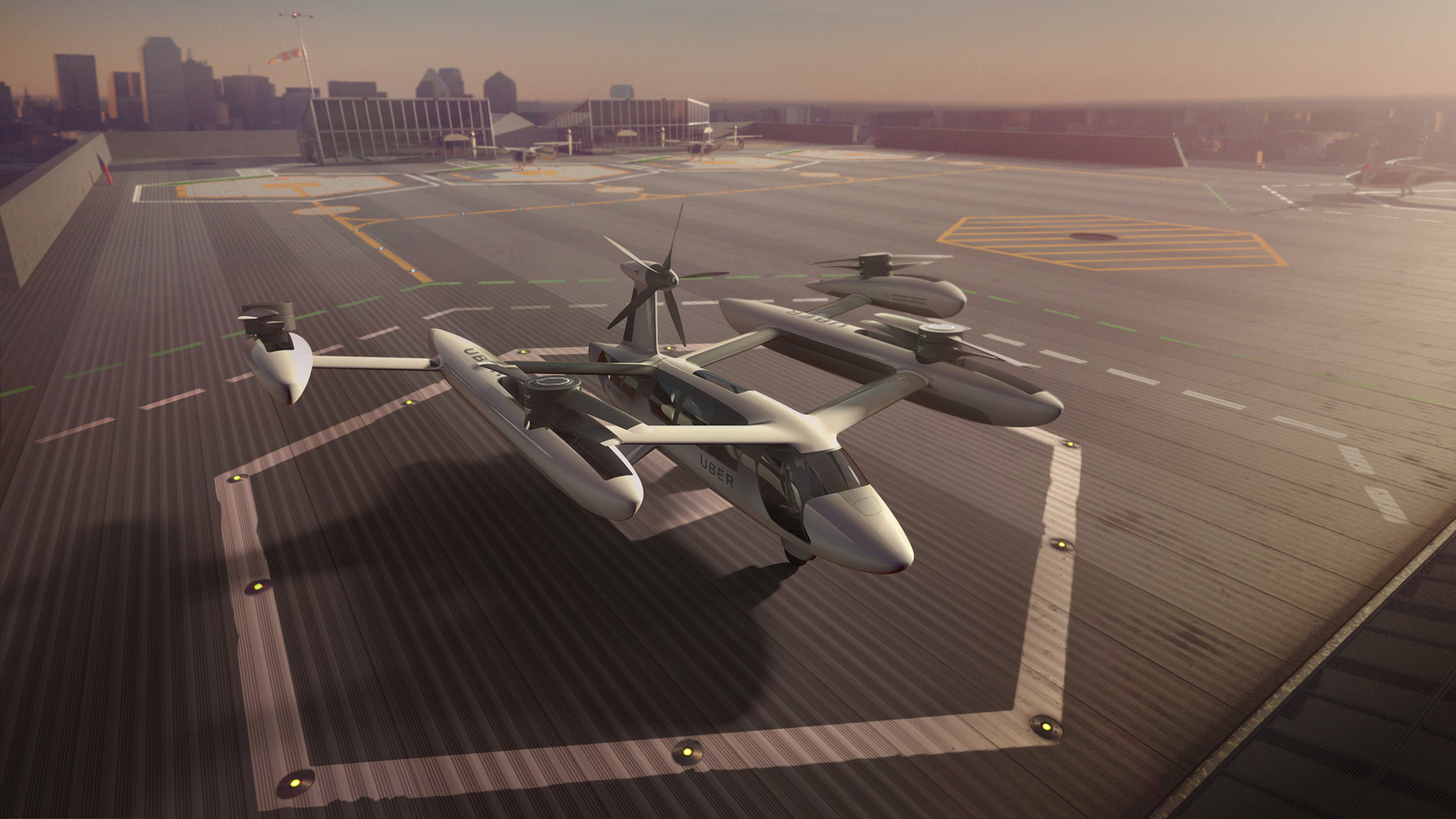 An illustrative model of Uber's electric vertical takeoff and landing vehicle (eVTOL).