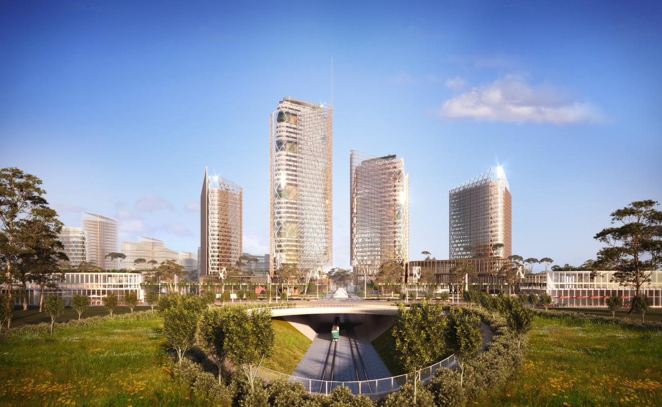World Trade Centre Sydney (WTC Sydney), by the Aerotropolis Group and Architect Woods Bagot, plans for nett zero carbon development.