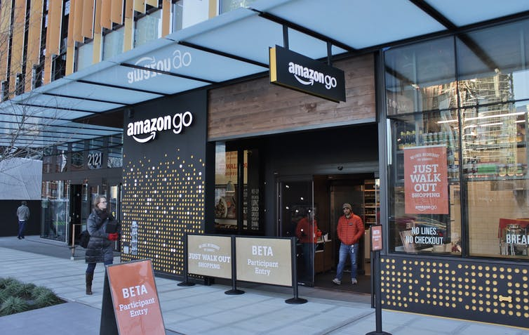 The first Amazon Go store on opening day in Seattle, Washington, in 2016.