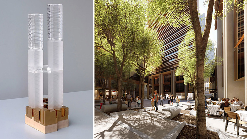 ▲ Conceptual model of 388 Pitt Street by studio Kinkfab (left); artist rendering of the proposed 1,050sq m urban courtyard.