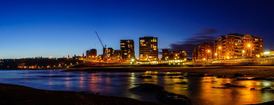 Newcastle, Australia at night