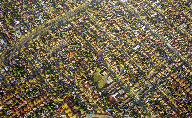 Aerial view of Melbourne suburb, Malvern East, Victoria, Australia.