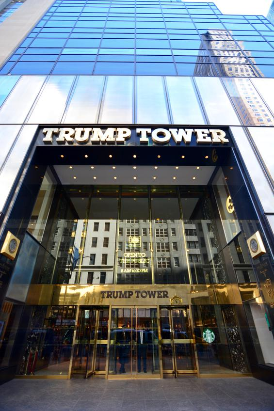 New York, USA - January 21, 2016:  the entrance of the Trump Tower on 5th avenue in New York
