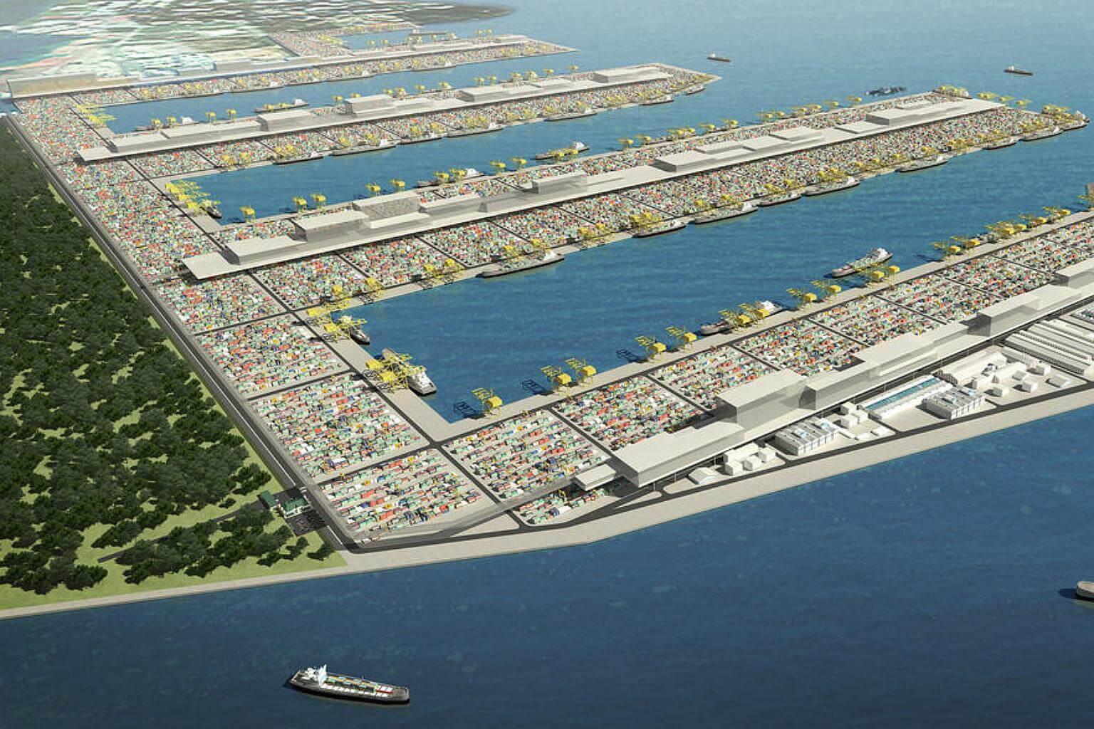 An artist's impression of the Tuas mega port. PHOTO: MPA
